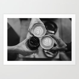 Coffee Friendship (Black and White) Art Print