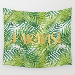 Paradise in Hawaiian Palm Tree Leaves Wall Tapestry