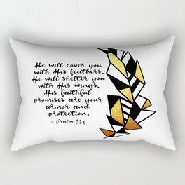 Gold Feather & Psalm 91:4 Rectangular Pillow
