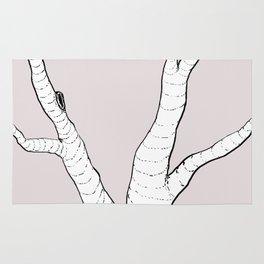 Birch Tree Illustration Rug