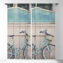 a mint green bicycle on the streets of Paris. Blackout Curtain