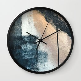 Just like Honey [3]: a pretty, minimal abstract mixed-media piece in blue, gold, and pink Wall Clock