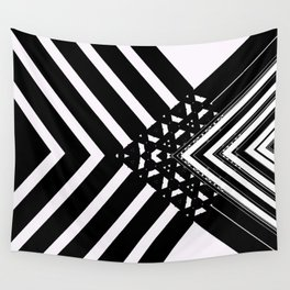Modern Minimal Black White V Patten Wall Tapestry