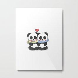 Panda Love Couple in Winter Metal Print