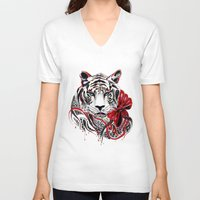 tiger V-neck T-shirts featuring White Tiger by Felicia Atanasiu