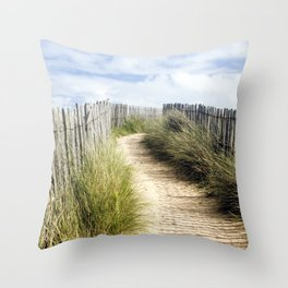 Path near the beach with grass and clouds Throw Pillow