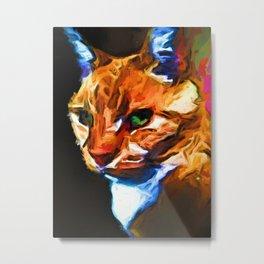 Portrait of Cat Looking Left Metal Print