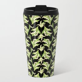 Black Vintage-Style Lily-of-the-Valley Pattern Travel Mug