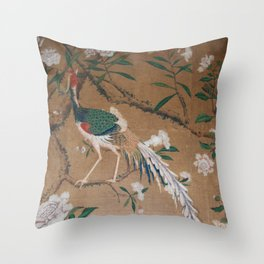 Antique French Chinoiserie in Tan & White Throw Pillow