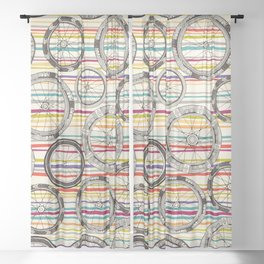 bike wheels stripe Sheer Curtain
