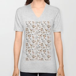 Watercolor brown fall autumn leaves floral Unisex V-Neck