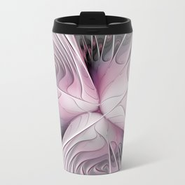 Fantasy Flower, Pink And Gray Fractal Art Travel Mug