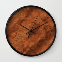 mars Wall Clocks featuring Mars by Lyle Hatch