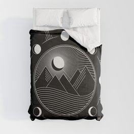 Moon Phases & Mountains Comforters