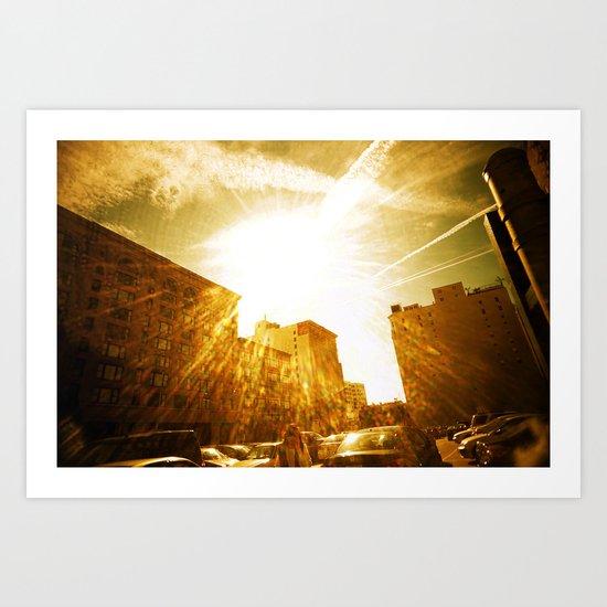 The Golden Sun Shines on Los Angeles Art Print