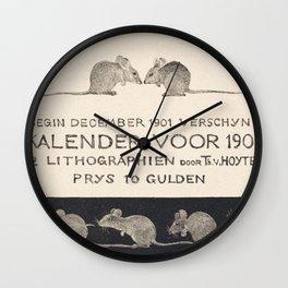 Aankondiging voor kalender 1902 (ca 1878-1901) print in high resolution by Theo van Hoytema Wall Clock