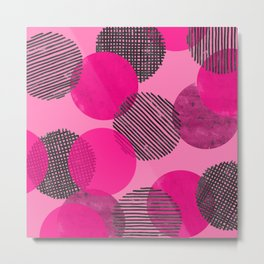 Magenta Dot Pattern Metal Print