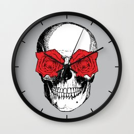 Skull and Roses | Grey and Red Wall Clock
