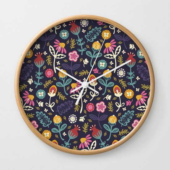 Ditsy Flowers Wall Clock