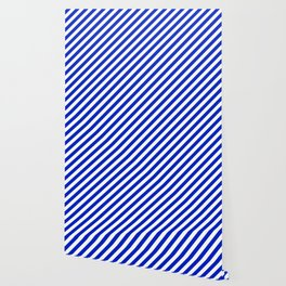 Cobalt Blue and White Wide Candy Cane Stripe Wallpaper