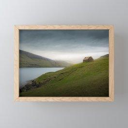 old hut on a fjord at the faroe islands - Landscape Photography Framed Mini Art Print
