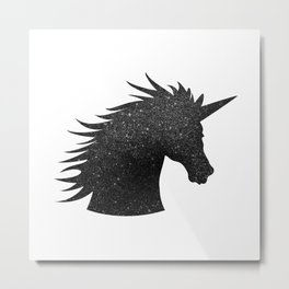Black Glitter Unicorn Metal Print