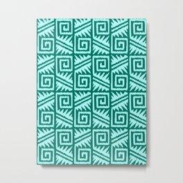 Ikat Aztec Tribal, Turquoise and Aqua Metal Print