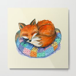 Sleeping Baby Fox On Patched Pillow Metal Print