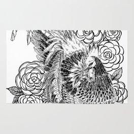Rooster & Camellia Hat Rug