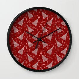 Merry Christmas- Abstract christmas tree pattern on festive red Wall Clock