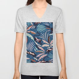Exotic Wilderness on Blue / Panthers and Plants Unisex V-Neck
