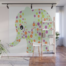 cute floral elephant Wall Mural