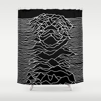 joy division Shower Curtains featuring Pug Division by Huebucket