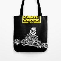 mario kart Tote Bags featuring Kart Vader by sEndro