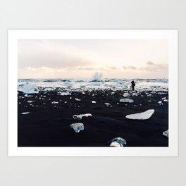 Photographer on Diamond Beach, Iceland Art Print