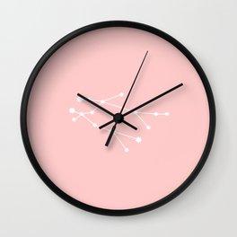 Gemini Star Sign Soft Pink Wall Clock