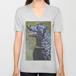 A Curly-Coated Retriever dog portrait from an original painting by L.A.Shepard Unisex V-Neck