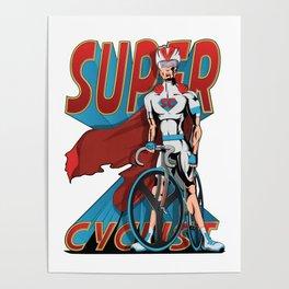 Superhero Cyclist Poster