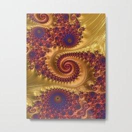 Feathery Flow Orange - Fractal Art  Metal Print