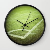 soccer Wall Clocks featuring Soccer field by GF Fine Art Photography