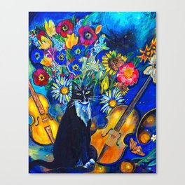 Cat and String Instruments Canvas Print