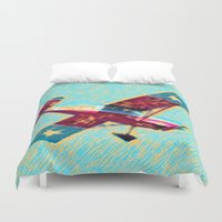 airplane Duvet Covers featuring VINTAGE AIRPLANE by K. Ybarra/FotoHAUS
