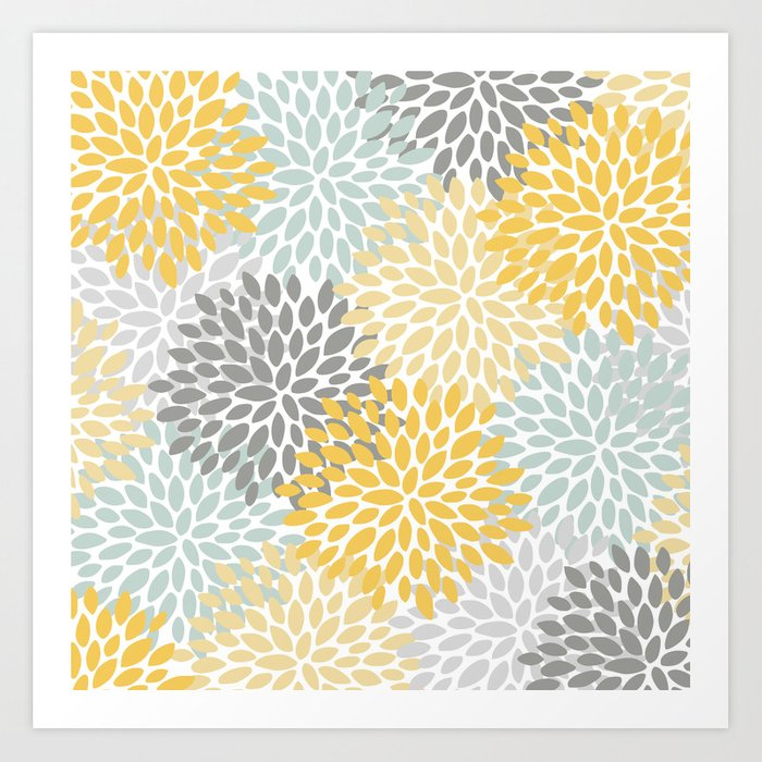 Floral Pattern, Yellow, Pale, Aqua, Blue and Gray Kunstdrucke