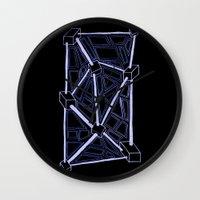 death star Wall Clocks featuring Death Star by clawsalina