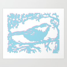 Snowy Chickadee Art Print