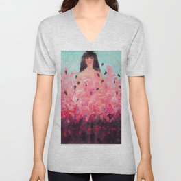 Pink Thoughts (A girl with flamingos) Unisex V-Neck