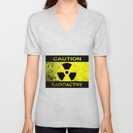 Caution Radioactive Sign Unisex V-Neck