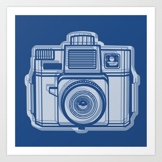 I Still Shoot Film Holga Logo - Reversed Blue Art Print