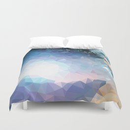 Galaxy low poly Duvet Cover