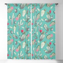 Cactus Pattern | Cacti Print Hot Pink onTeal Blackout Curtain
